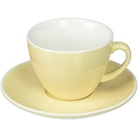 (Ivory) - Abbott Collection Avenue Diner Look Porcelain Cappuccino Cup w/ Saucer, Ivory