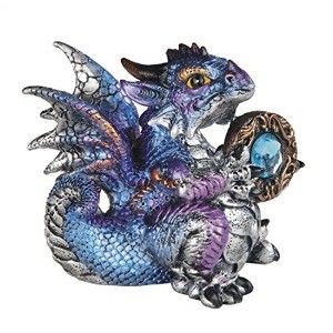 StealStreet Aquarius Zodiac Stone Embellished Dragon Collectible Figurine ,ブルー