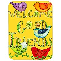 Caroline 's Treasures pjc1055lcb Welcome Good Friends Inspirationalガラスカッティングボード、L、マルチカラー