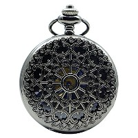 Switchme Hand Wind Mechanical Pocket Watch Hollowカバー Black-S3 ブラックー3