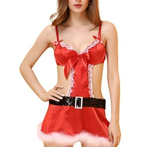 Zhhlinyuan 良質 Womens クリスマス Cosplay Night Dress+G-string Sleepwear Red Temptation Halter Lingerie...