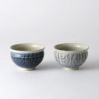 CULTURE BY DESIGN / TEACUP BOWL SHIMA / 湯呑茶碗 しま / 美濃焼 (ホワイト×ブルー ペアセット)