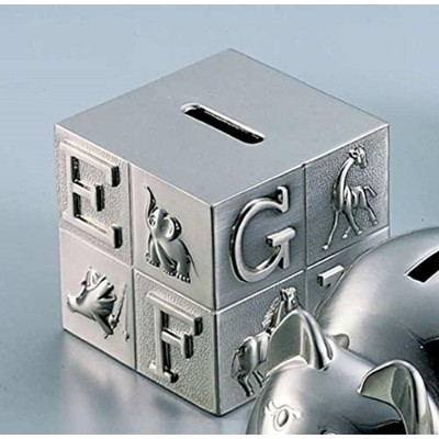 Pewter Brush Finish Alphabet Block Baby Bank by Creative Gifts