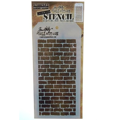 Stampers Anonymous Tim Holtz Layered Bricked Stencil, 4.125 x 8.5 by Stampers Anonymous