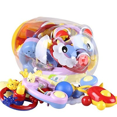 sproutoy Baby Rattle Teether and Toy Set 7 Funとカラフルなおもちゃwith Pigストレージポットファンシーおもちゃ(カラーMay Vary ) FBA