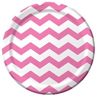 Candy Pink Chevron Dinner Plates by Creative Converting [並行輸入品]