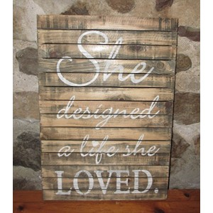 彼女は設計A Life She Loved Wood Sign