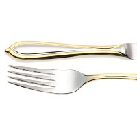Yamazaki Arianaゴールドアクセント5-piece Flatware Place Setting、サービスfor 1