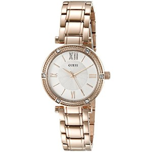 GUESS Women's U0767L3 Dressy Rose Gold-Tone Watch with White Dial %カンマ% Crystal-Accented Bezel and...