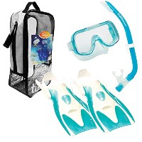 TUSA Sport Youth Mini-Kleio Mask, Snorkel, Fins Snorkeling Set, Clear Green [並行輸入品]