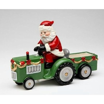 Cosmos Gifts 10517 Santa on Tractor Salt and Pepper Set and Holder, 17.5cm