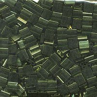 Olive Green Gold Luster Tila Beads 7.2 Gram Tube By Miyuki Are a 2 Hole Flat Square Seed Bead 5x5mm...