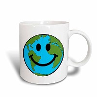 3dローズInspirationzStore Smiley Face地球コレクション–Happy Smiley Face–Smiling Planet Globe–EcoグリーンSmile...