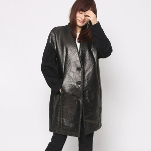 【SALE 70%OFF】ニューヨーク インダストリー  New York Industrie Outlet レザー風コート (ブラック)