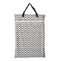 Large Hanging Wet/dry Cloth Diaper Pail Bag for Reusable Diapers or Laundry (Grey Chevron) by Hibaby