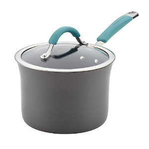 Rachael Ray ( R ) Cucinaハード磁器エナメルNonstick Covered Saucepan、3-quart、Agaveブルー