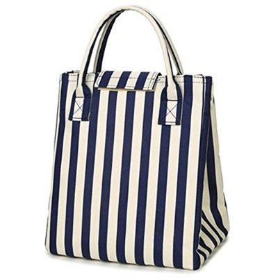 (Blue Stripes) - Moosoo Reusable Thermal Foldable Lunch Tote Bag Cooler Bag Insulated Lunch Box...