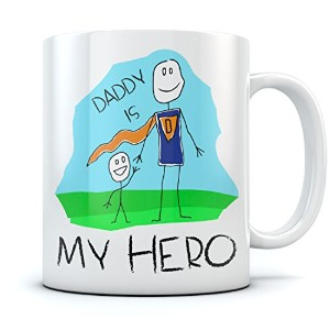Daddy Is My Hero Kids Drawing–Super Dadコーヒーマグ父の日/クリスマスギフトから息子、娘または妻、一意Present for Dad 's Birthday...