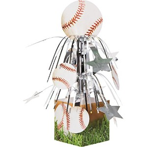 Creative Converting Sports Fanatic Baseball Centerpiece with Mini Cascade and Base, White by...