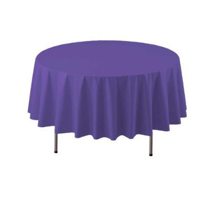 (Royal Purple) - Party Essentials Heavy Duty 210cm Round Plastic Table Cover Available in 22...