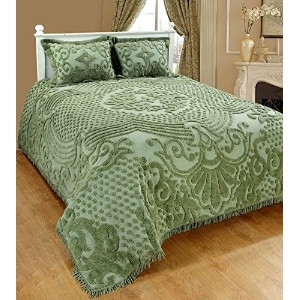 SaralホームFashions Jewelシェニール織Bedspread with Sham キング グリーン SOS-1014ICN-KING-GREEN