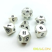 Bescon RPG Metal Dice Set of 7 Matt Pearl Silver Effect Solid Metal Polyhedral RPG Role Playing...