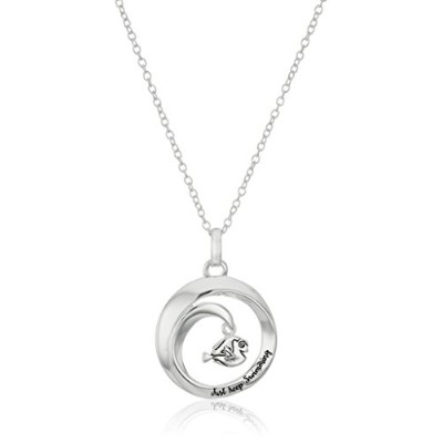 "Disneyスターリングシルバー波with Dory Finding Nemo "" Just Keep Swimming "" Pendant Necklace , 16 "" + 2.5 ""..."