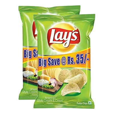 Lay's Potato Chips American Style Cream and Onion Flavour Pack, 95 grams - Pack of 2 - India -...