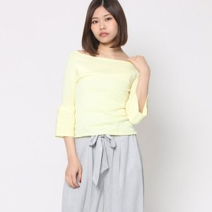 【SALE 60%OFF】ミーア プロデュースド バイ ルーミィーズ MIIA produced by Roomy's OUTLET オフショルベルスリーブニット (イエロー)