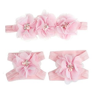 Meily(TM) Love Baby Girls Foot Flower Barefoot Sandals + Headband Set Baby Infants Girl (Pink) by...