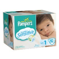 Pampers Swaddlers Sensitive Diapers Economy Pack Plus Size 1, 192 Count by Pampers