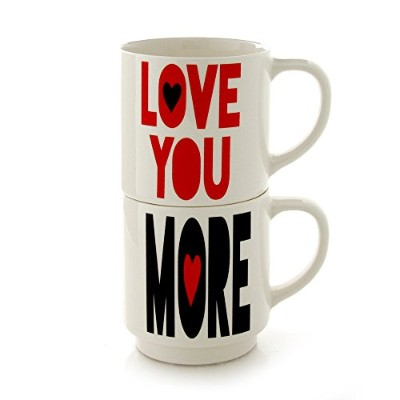 Enesco Our Name Is Mud by Lorrie Veasey Love You More Stacking Mugset、8インチ、マルチカラー