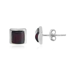 Cherry Amber Sterling Silver Square Smallスタッドイヤリング