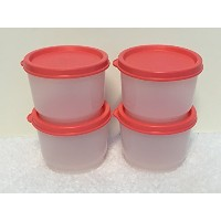 Tupperware Snack Cup 4 ozセットof 4 withスイカGuavaピンクSeals