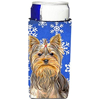 Winter Snowflakes Holiday Yorkie /ヨークシャー・テリアUltra Beverage Insulators forスリム缶kj1177muk