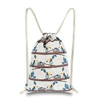 miomao SackpackキャンバスGymsackドローストリングバッグ文字列バックパックwithポケット、動物Toucan Family inブランチリュックサック、肩ナップサックCinch...