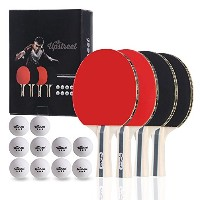 The Upstreetボックスセット: 4Ping Pong Paddles with 3Star Ping Pong Balls forテーブルテニス