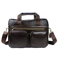 Zhhlaixing 高品質 Mens Unisex Cowhide Leather Handmade Waterproof Briefcases Shoulder Bag Handbag...