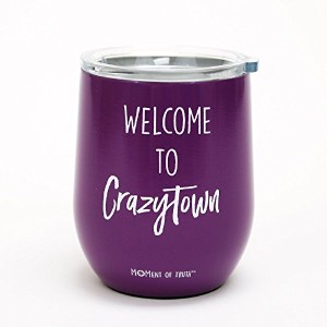 Welcome to Crazytown Stemlessワインガラス蓋メアリー正方形