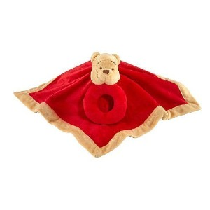 Disney Baby - Winnie the Pooh Security Blanket with Ring Rattle by Crown Crafts
