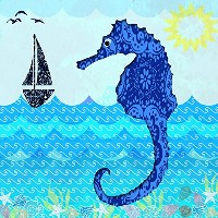 Wave SeahorseギャラリーWrappedキャンバスアートホームデコレーションby Jill Meyer 12x12 ML CAN JM1495 12x12 GW