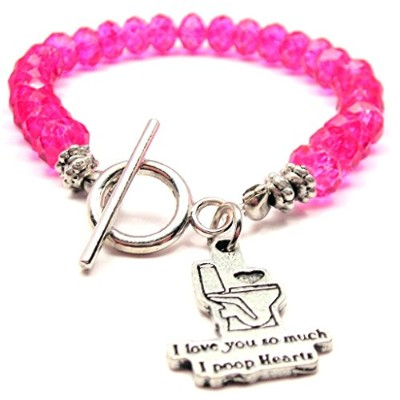 I Love You So Much I Poop HeartsクリスタルToggle Bracelet Inホットピンク