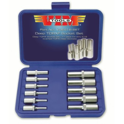 Vim Products VIMVDE418-03 11 Piece Deep Torx Socket Set - E4 Thru E18