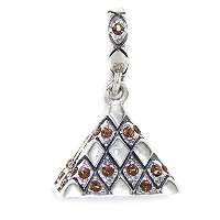 Proジュエリー925Solid Sterling Silver Dangling Louvre withオレンジクリスタルチャームビーズ