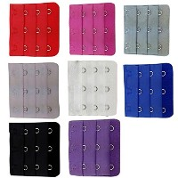 BOOLAVARD ® 10 pcs Assorted Colors Women 3-Hook 3 Rows Spacing Bra Extender Strap by Boolavard® TM
