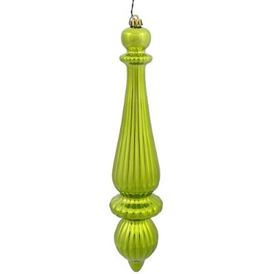 (Shiny, Lime) - Vickerman Plastic Finial Drop UV Resistant with Drilled Neck, Cap Secured & Green...