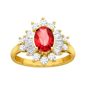 1 1 / 2 ct Created Ruby and作成ホワイトサファイアリング14 K Gold overスターリングシルバー レッド