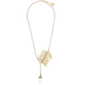Camila Klein pearl embellished long necklace - メタリック
