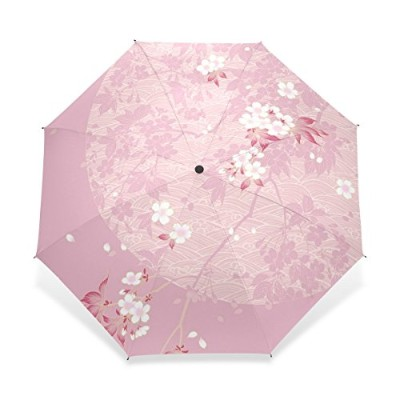 USAKI(ユサキ) エレガント 民族 和風 和柄 花柄 レトロ ピンク 桜柄 桜の花びら 花吹雪,折りたたみ傘 3段 晴雨兼用 耐風 日傘 雨傘 手動開閉 携帯用 三つ折り畳み かさ