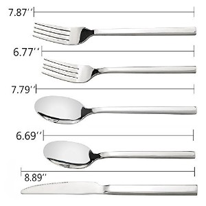 doryh 20 Piecesステンレススチール銀食器セット、Flatware Set Service for 4 , A / F
